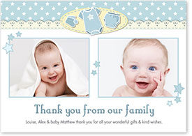Boys Thank You Card - Baby Grow & Stars
