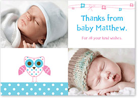 Boys Thank You Card - Baby Owl & Ribbons
