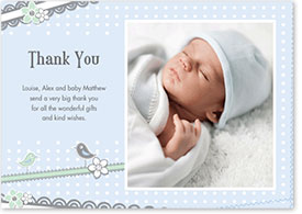Boys Thank You Card - Birds & Flowers
