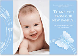 Boys Thank You Card - Butterflies