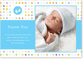 Boys Thank You Card - Colourful Footprints