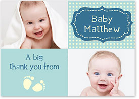 Boys Thank You Card - Footsteps & Polka-Dots