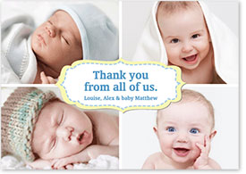 Boys Thank You Card - Four Baby Photos