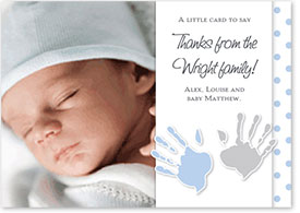 Boys Thank You Card - Handprints