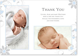 Boys Thank You Card - Hearts, Vintage & Floral