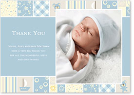 Boys Thank You Card - Patchwork Blanket