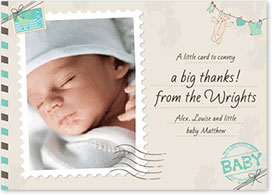 Boys Thank You Card - Postage Stamp & Teddy Bear