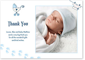 Boys Thank You Card - Pram & Footsteps