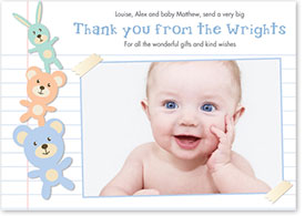 Boys Thank You Card - Rabbits & Teddy Bear