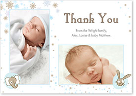 Boys Thank You Card - Elephant, Rabbit & Stardust