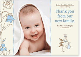 Boys Thank You Card - Stork Delivering Baby