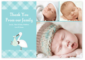 Boys Thank You Card - Tartan & Stork