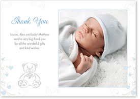 Boys Thank You Card - Teddy Bear & Hearts