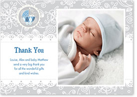 Boys Thank You Card - Vintage Pram