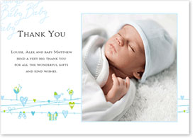 Boys Thank You Card - Hearts & Washing Line