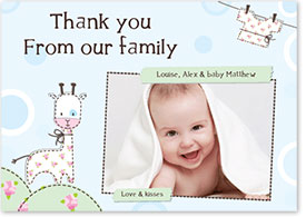 Boys Thank You Card - Washing Line & Lamb
