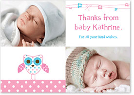 Girls Thank You Card - Baby Owl & Ribbons