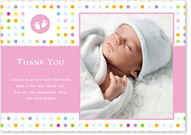 Girls Thank You Card - Colourful Footprints