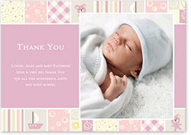 Girls Thank You Card - Patchwork Blanket