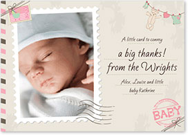 Girls Thank You Card - Postage Stamp & Teddy Bear