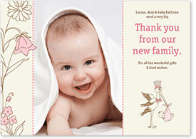 Girls Thank You Card - Stork Delivering a Baby