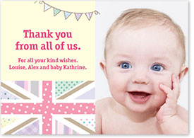 Girls Thank You Card - Union Jack & Bunting