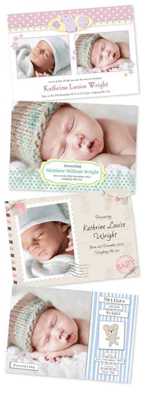 Some of our baby arrival cards